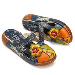 Ethnic Style Colorful Leather Slippers Vintage Platform Shoes