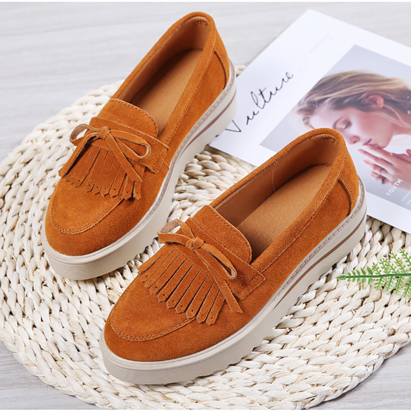 Genuine Leather Comfy Slip On Platform Tassel Shoes