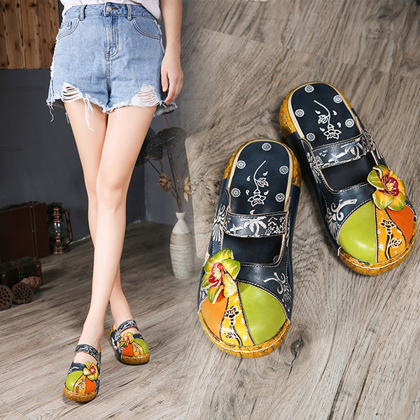 Ethnic Style Colorful Leather Slippers Vintage Platform Shoes - MagCloset