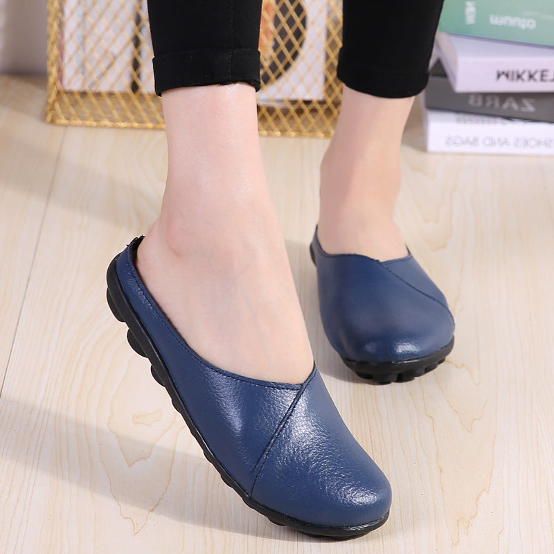 Big Size Pure Color Soft Sole Casual Open Heel Cosy Flat Shoes - MagCloset