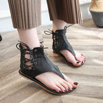 Large Size Clip Toe Lace Up Gladiator Sandals - MagCloset