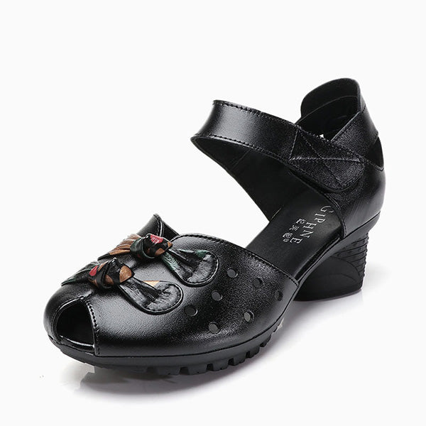 Peep Toe Leather Folkways Mid Heel Hook Loop Retro Sandals