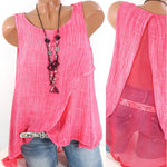 Sleeveless Back Patchwork Hollow O-Neck Shirts