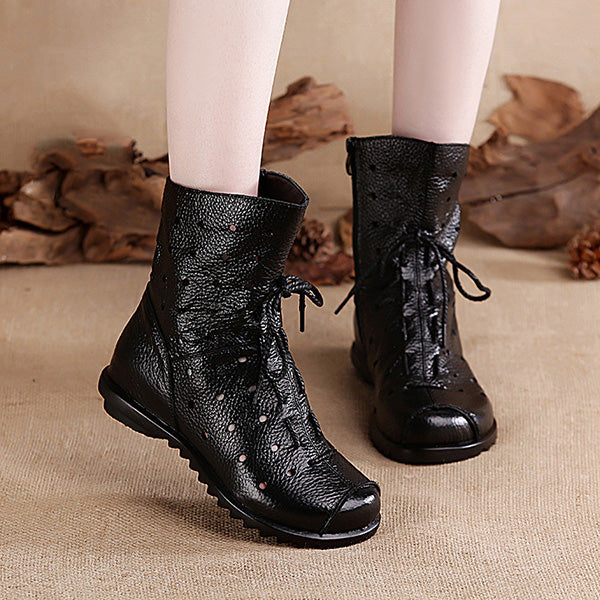 Retro Genuine Leather Breathable Boots for Women