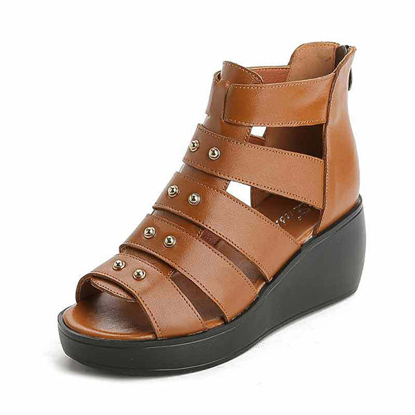 Cowhide Leather Peep Toe Platform Sandals Gladiator Shoes - MagCloset