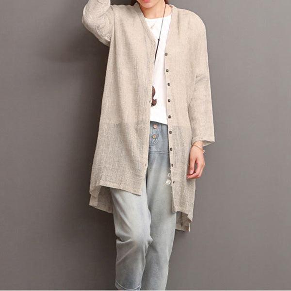 Casual Solid Cotton&Linen Cardigan - MagCloset