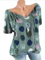 Polka Dot Short Sleeve V-Neck Shirts