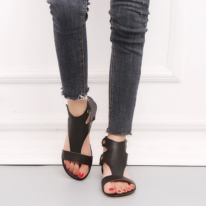 Large Size Open Toe Zipper Flat Sandals - MagCloset