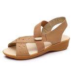 Cowhide Leather Comfy Slip On Peep Toe Wedge Sandals - MagCloset