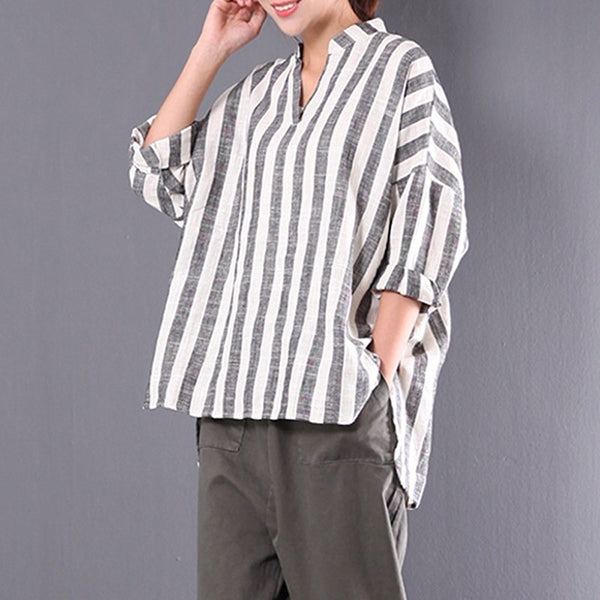 Women Striped V-neck Long Sleeve Blouse Shirts