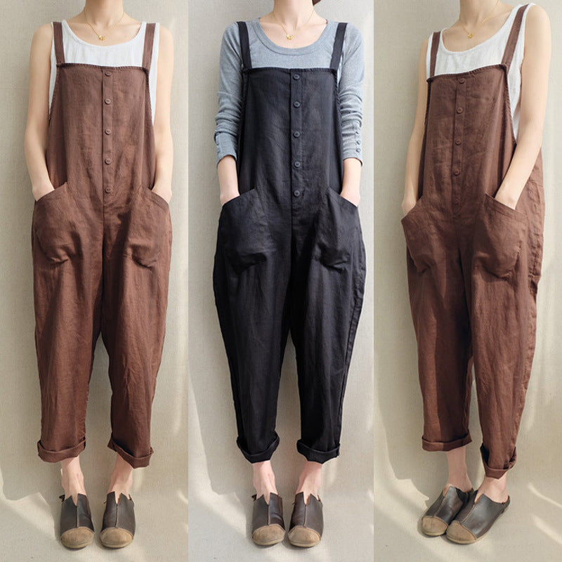 Casual Cotton Solid Jumpsuits Large Size