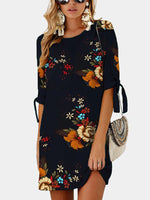Fashion Half Sleeve One-Piece Dresses Floral Printed Beach Dresses - MagCloset