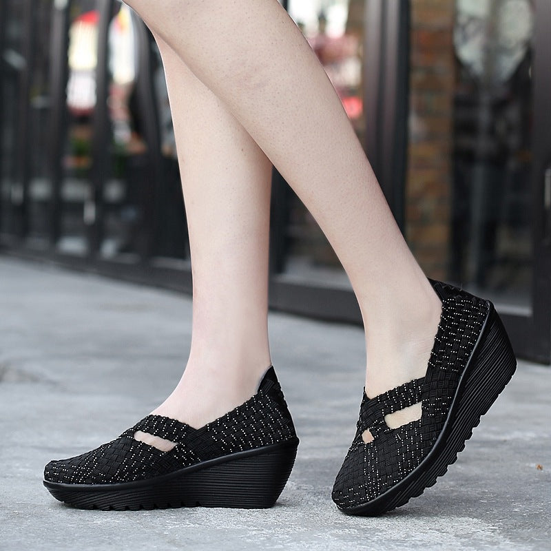Handmade knitting Casual Wedge Shoes