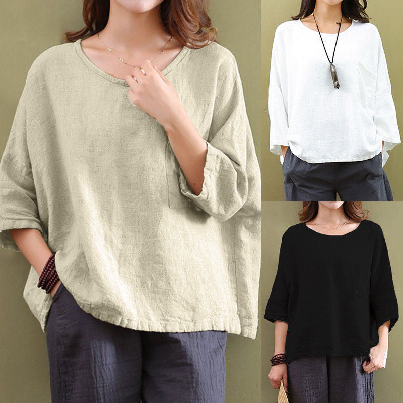 Solid Cotton Linen Loose T-Shirts