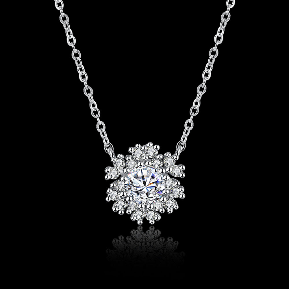 Snowflake 925 Sterling Silver Necklace with Zircon