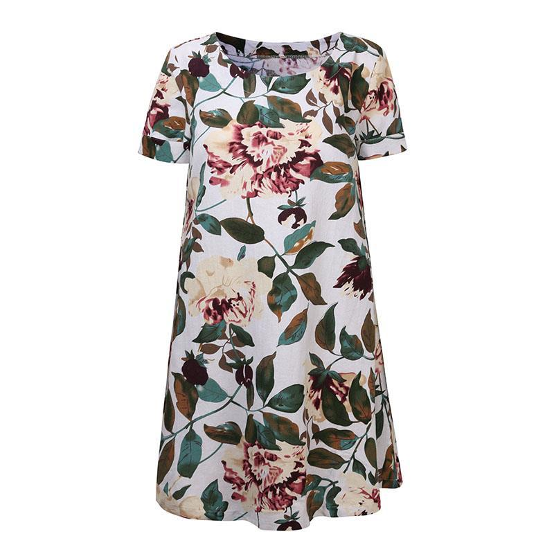 Vintage Short Sleeve Printed Short Dresses