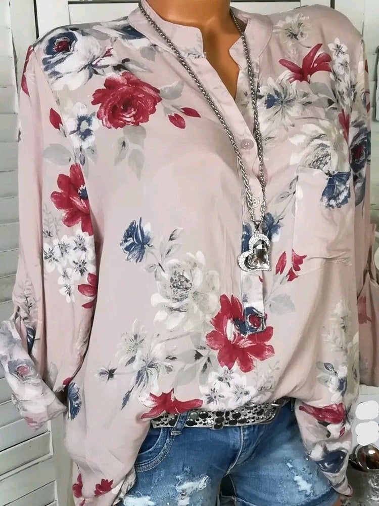 Floral Print V-Neck Blouse Long Sleeve Shirts for Women - MagCloset