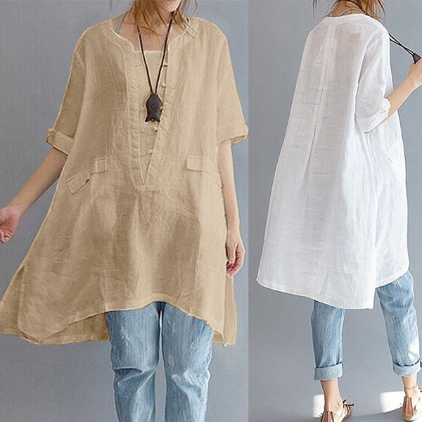 Solid Casual Cotton Linen High Low Blouse Shirts