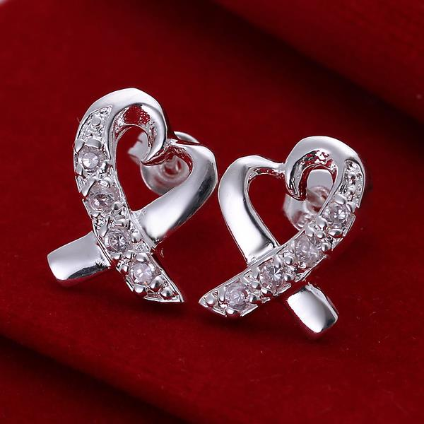 Heart-Shape Silver Plated Studs Earring - MagCloset