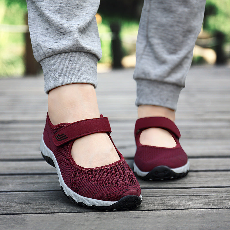 Comfy Casual Mesh Breathable Hook Loop Flat Shoes - MagCloset