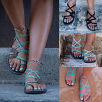 Braided Flat Heel Beach Sandals - MagCloset