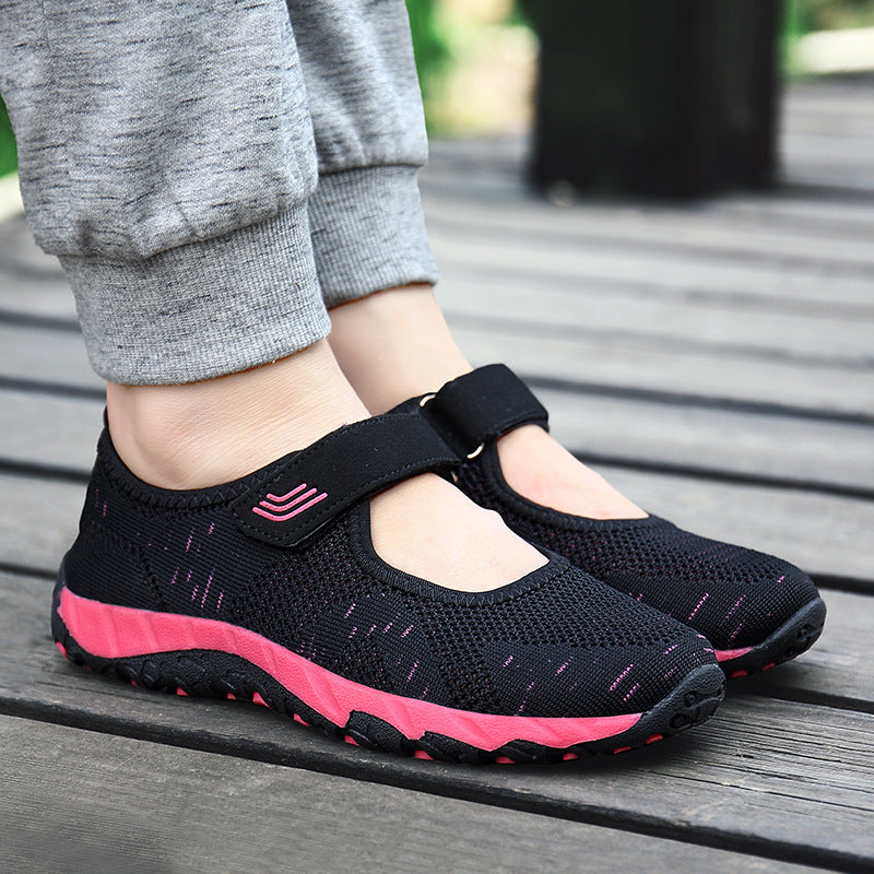 Comfy Casual Mesh Breathable Hook Loop Flat Shoes