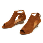 Large Size Strap Buckle Peep Toe Wedge Sandals - MagCloset