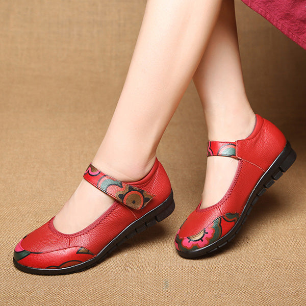 Retro Ethnic Style Hook Loop Flat Shoes