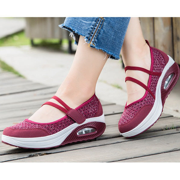 Breathable Knitting Platform Slip Hook Loop Casual Rocker Bottom Shoes
