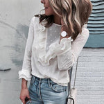 Women's White Flower Lace Button Blouses