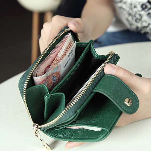 CLEARANCE-Women Short PU Wallet With Multi Card Slots Coin Purse