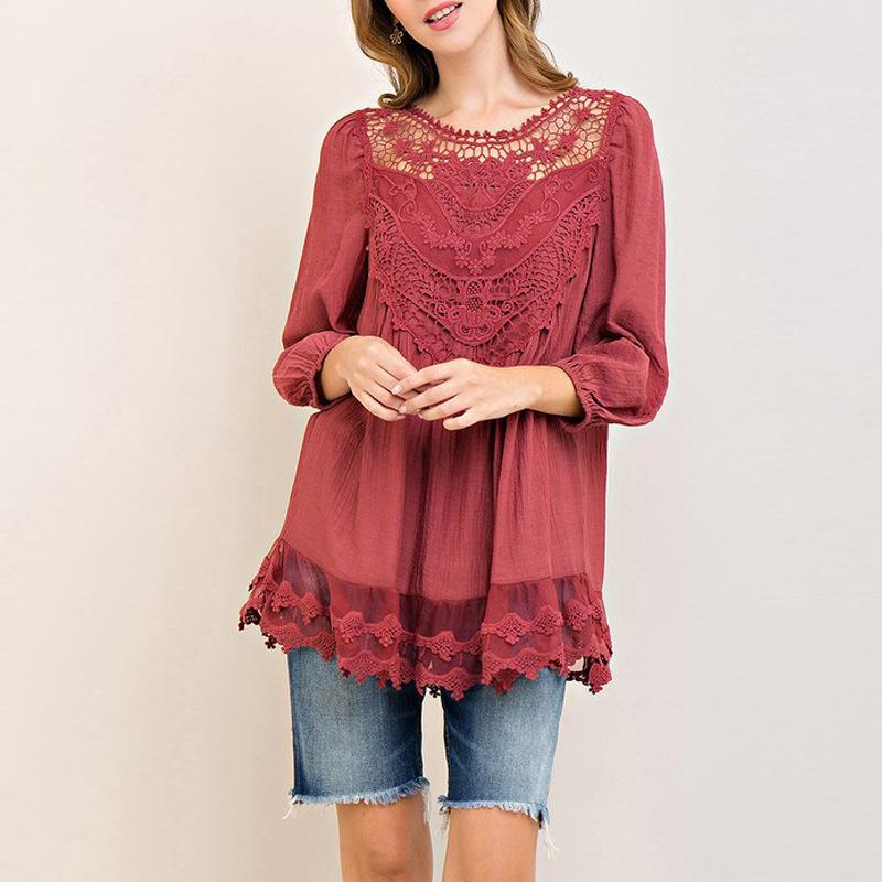 Elegant Lace 3/4 Sleeve Loose Blouses