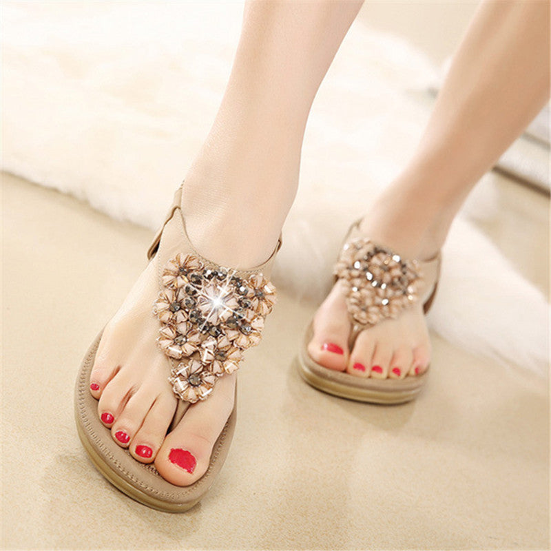CLEARANCE-Summer Women Flat Sandals Flower Bohemian Casual Outdoor Comfortable Leather Shoes