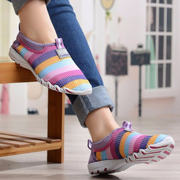 CLEARANCE-Rainbow Colorful Stripe Mesh For Women Breathable Slip On Flat Sport Shoes - MagCloset