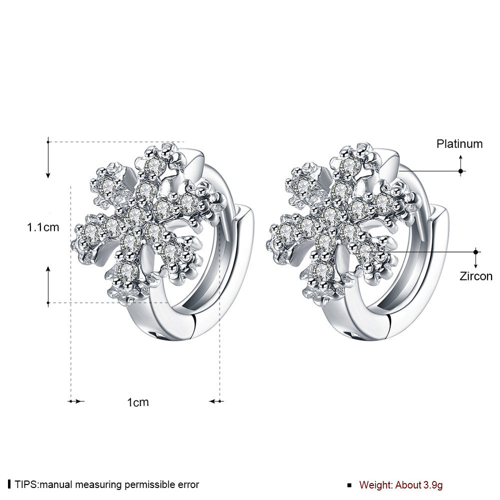 Snowflake Zircon Ear Clips Fashion Earrings