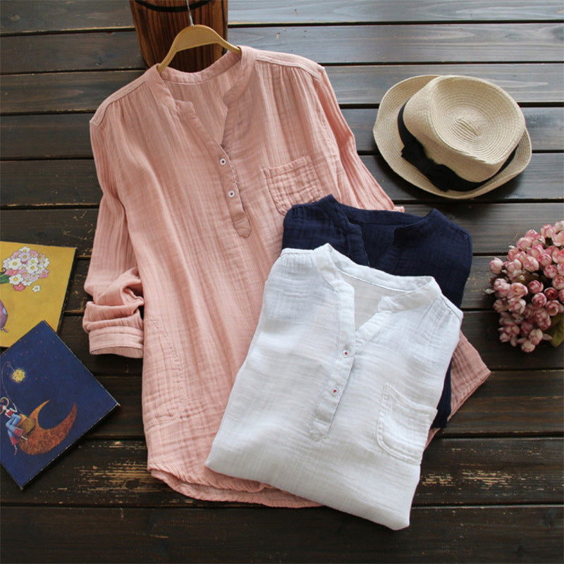 Women Casual Solid Color Stand Collar Long Sleeve Blouses