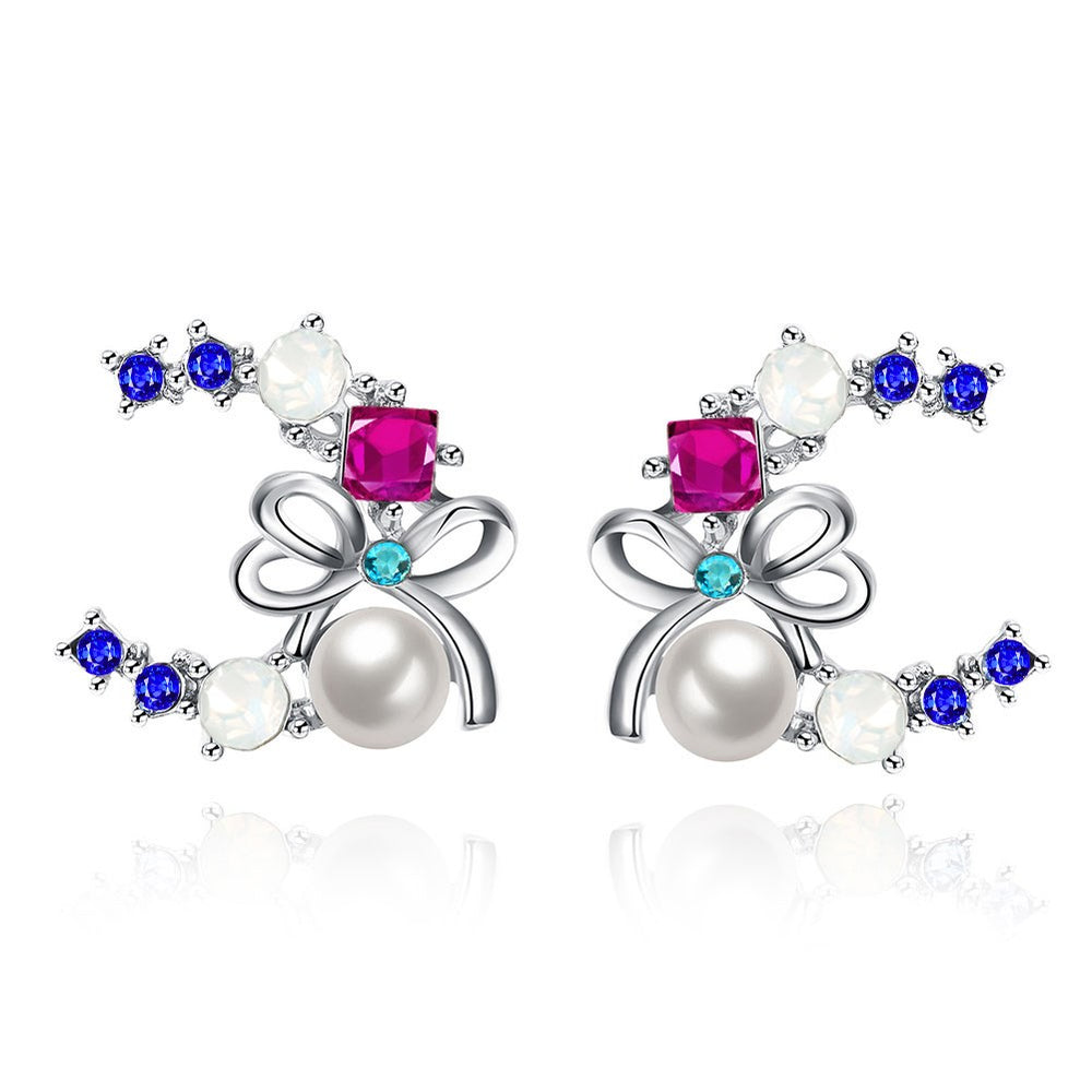 Fashion Multicolor Zircon Pearl Bowknot Earrings - MagCloset