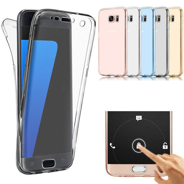 CLEARANCE-For Samsung Galaxy S7 Edge 360° Front And Back Protective TPU Clear Case Cover - MagCloset