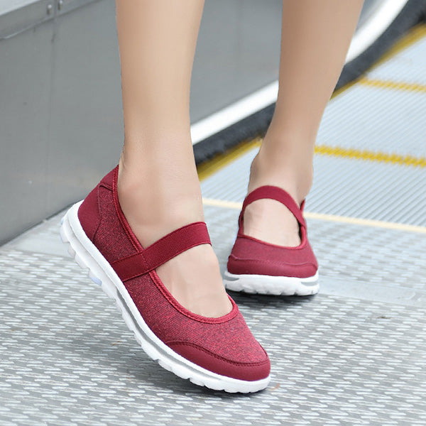 Breathable Elastic Flat Shoes Athletic Sneakers