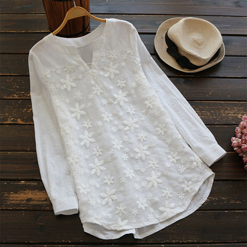 Women V-neck Embroidered Long Sleeve Shirts