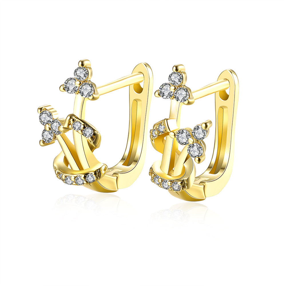 Fashion Crystal Gold Plated Ear Clips Earrings