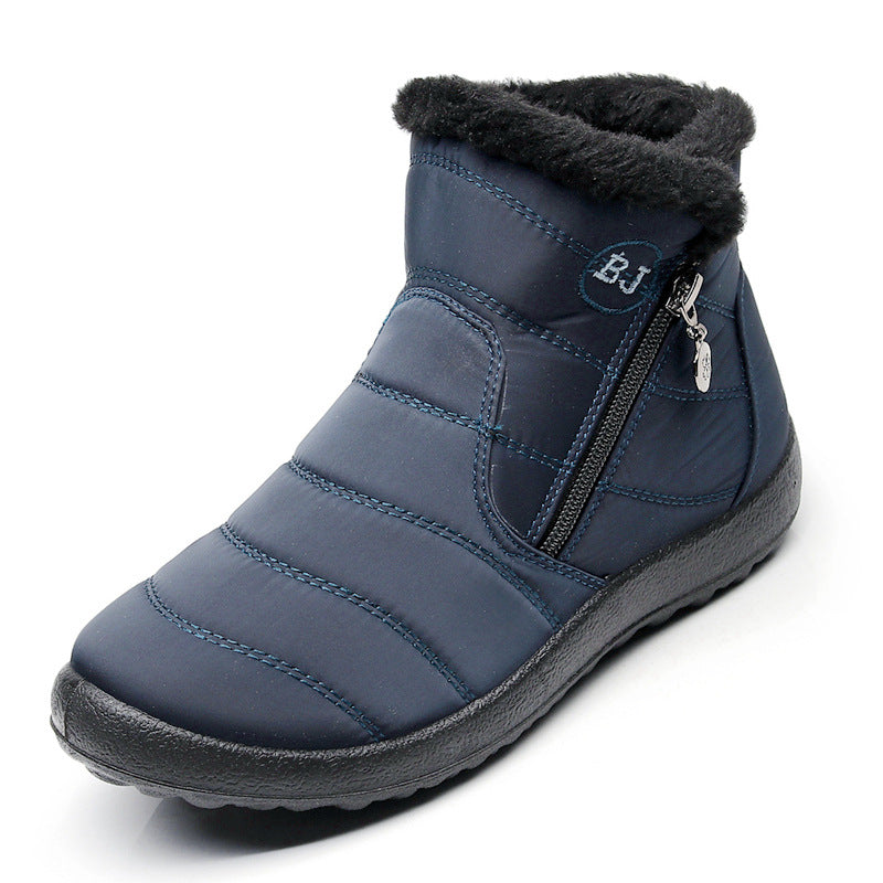 Large Size Waterproof Warm Cotton Zipper Snow Boots with Plush Inside