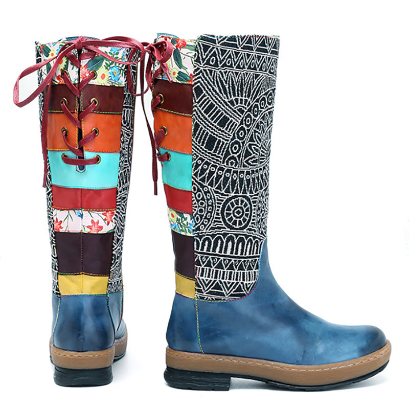 Embroidery Shoes Splicing Pattern Flat Leather Knee Boots - MagCloset