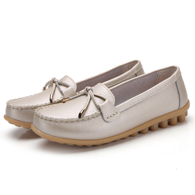 Women Comfy Shoes Bowknot Casual Leather Flats Loafers