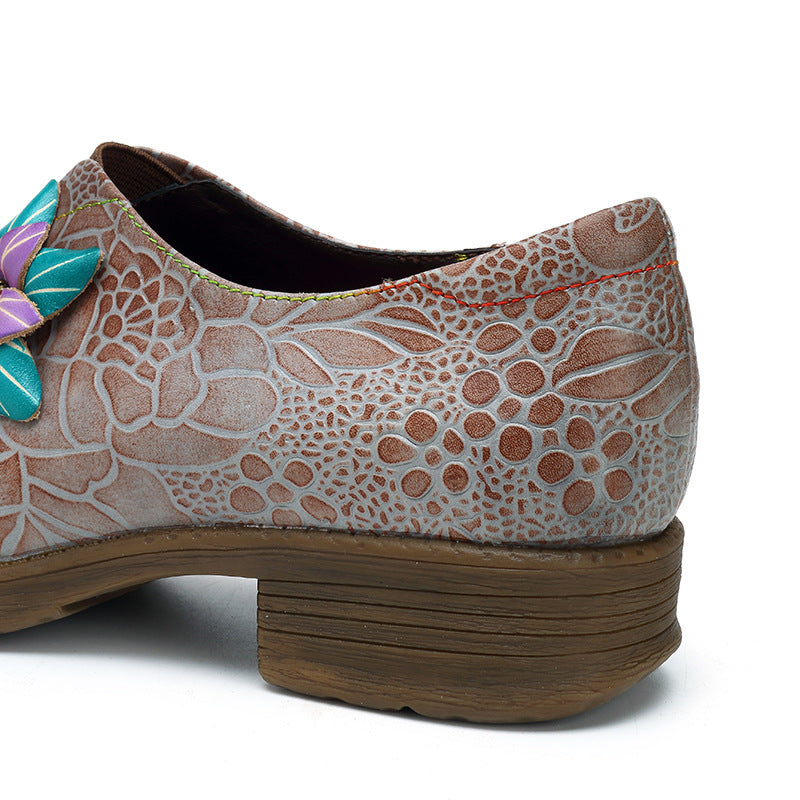 Handmade Genuine Leather Splicing Pattern Flower Flat Shoes