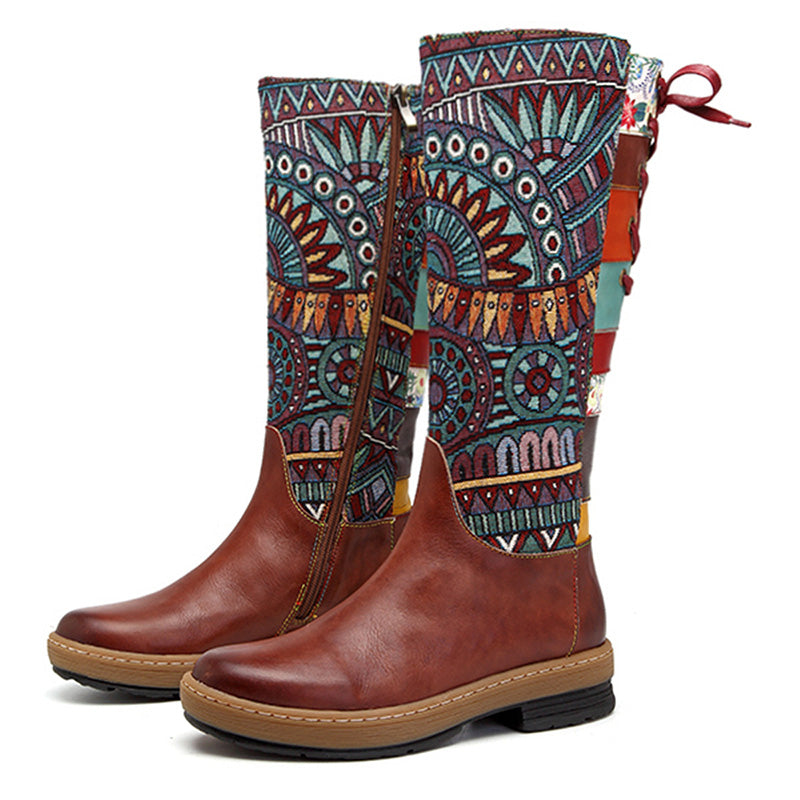 Embroidery Shoes Splicing Pattern Flat Leather Knee Boots