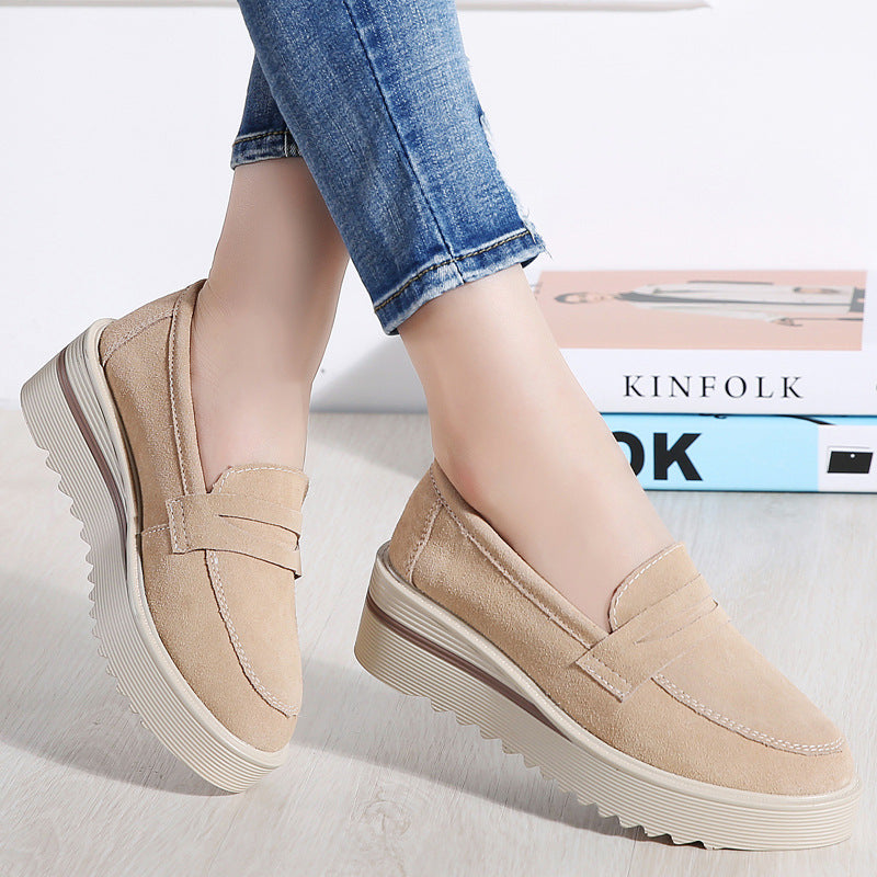 Genuine Leather Comfy Platform Slip On Rocker Bottom Shoes - MagCloset