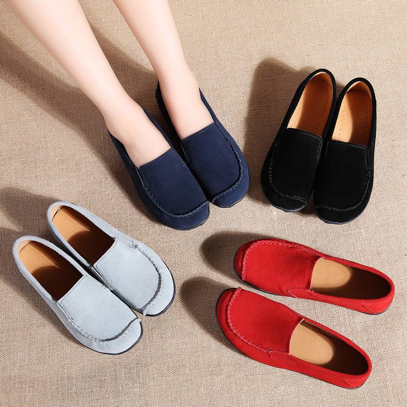Women Cowhide Suede Leather Comfy Slip On Flat Shoes
