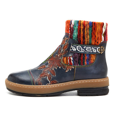 Handmade Splicing Knitting Wool Zipper Genuine Leather Boots