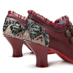 Retro Classic Buckle Printing Splicing Mid Heel Shoes Leather Pumps